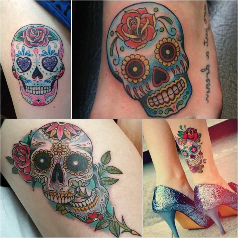 Тату Мексика Череп - Тату калавера - Тату катрина - Тату мексиканский череп на ноге