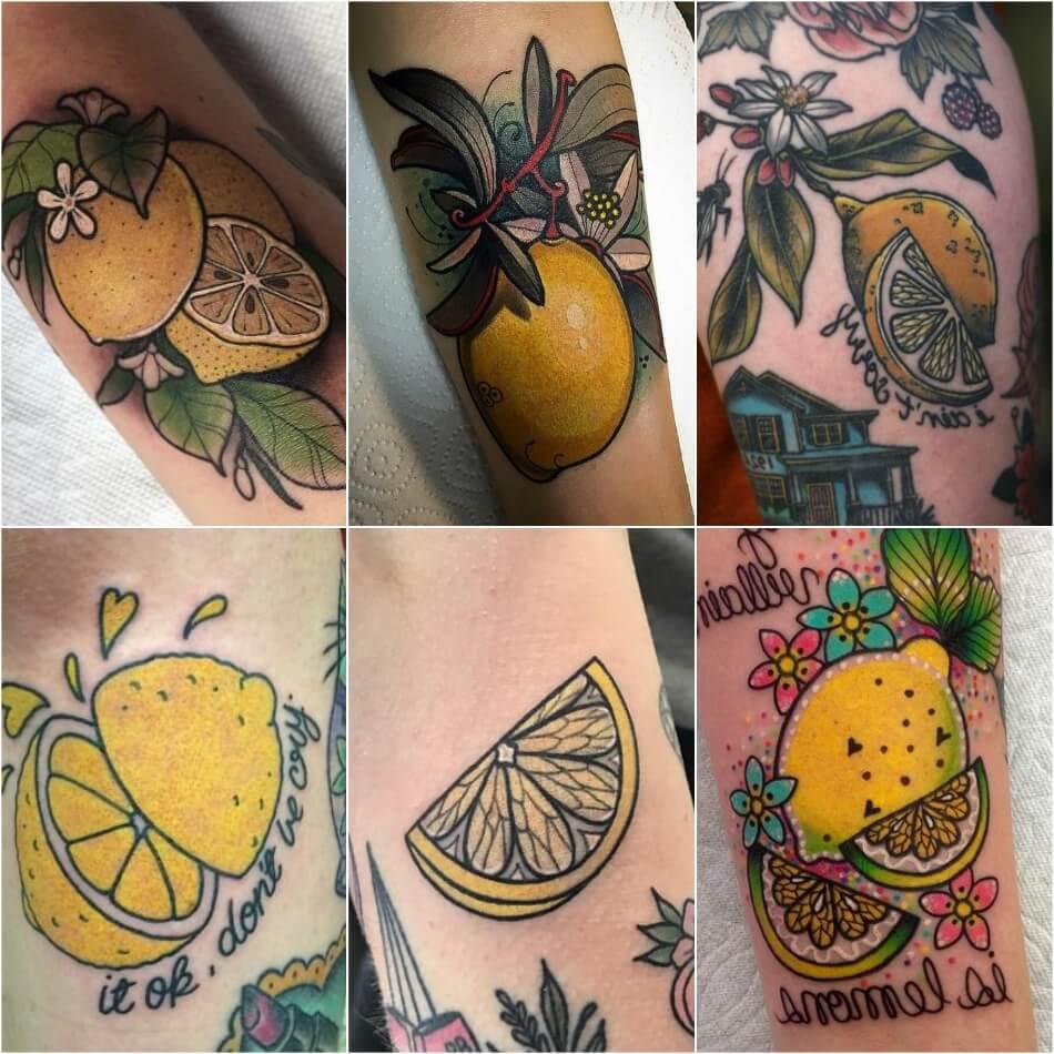 Тату фрукты - Татуировка фрукты - Тату фрукты значение - Тату лимон