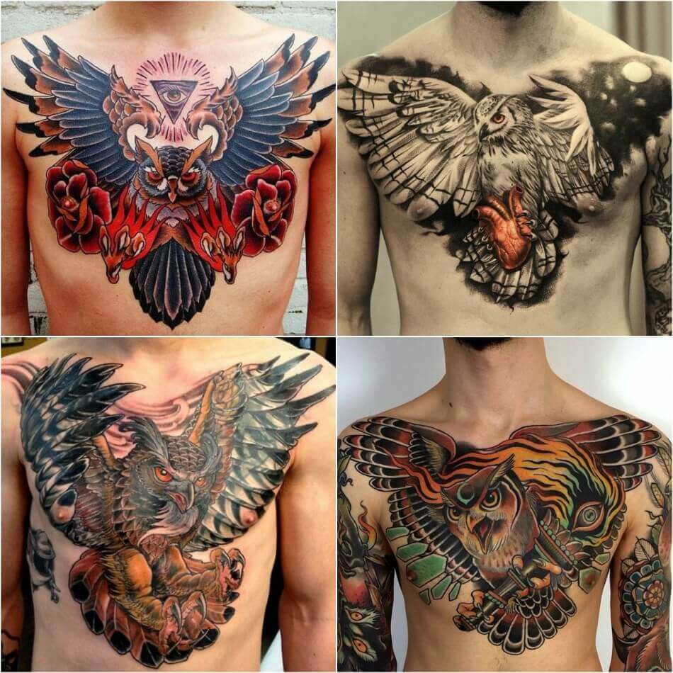 Мужские тату на груди - Тату на груди для Мужчин - Тату на груди мужские сова