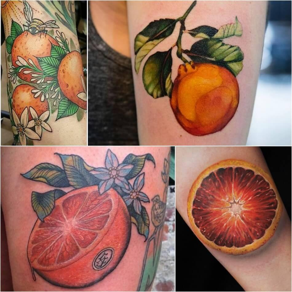 Тату фрукты - Татуировка фрукты - Тату фрукты значение - Тату апельсин
