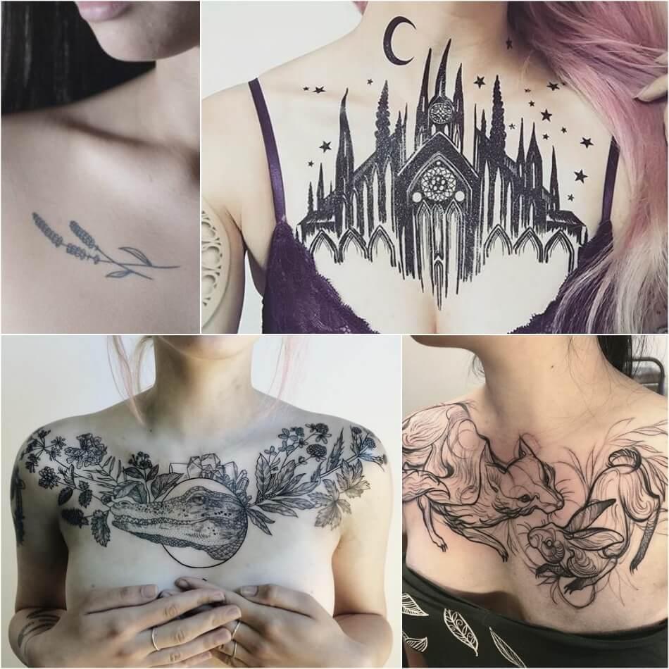 Женские тату на груди - Тату на груди для девушек - Женские черно-белые тату на груди