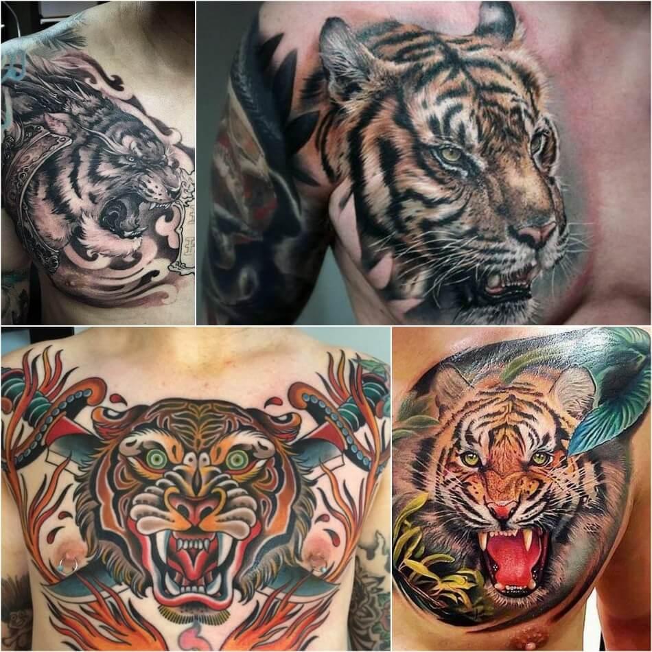 Мужские тату на груди - Тату на груди для Мужчин - Тату на груди мужские лев - Тату тигр на груди
