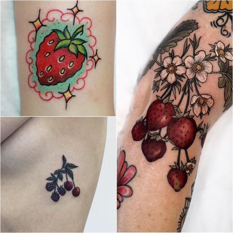Тату фрукты - Татуировка фрукты - Тату фрукты значение - Тату клубника