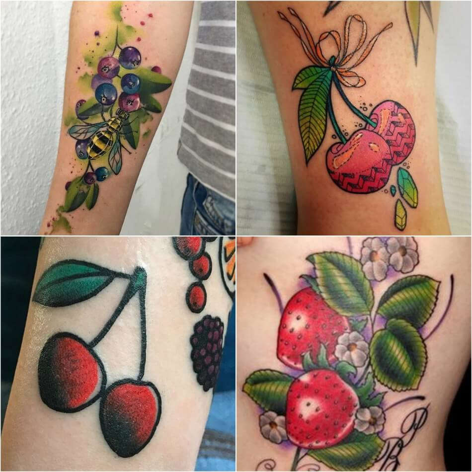 Тату фрукты - Татуировка фрукты - Тату фрукты значение - Тату клубника - Тату вишня