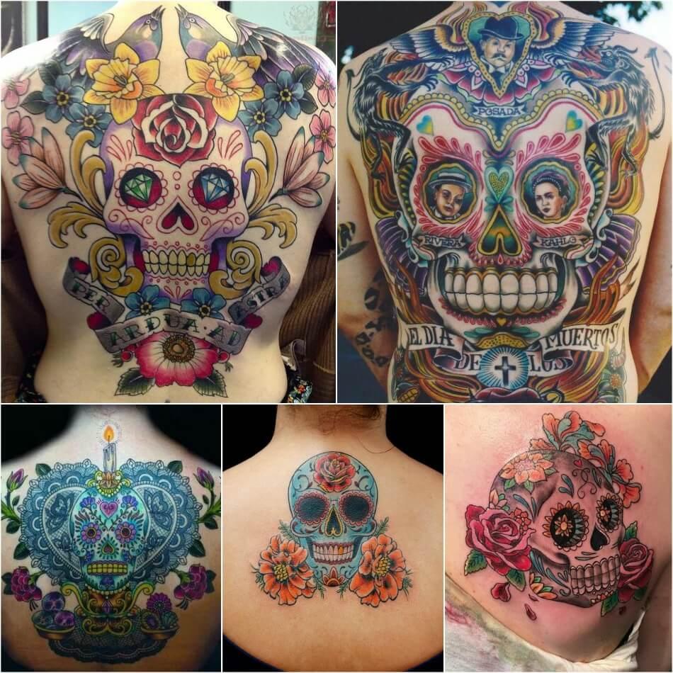 Тату Мексика Череп - Тату калавера - Тату катрина - Тату мексиканский череп на спине