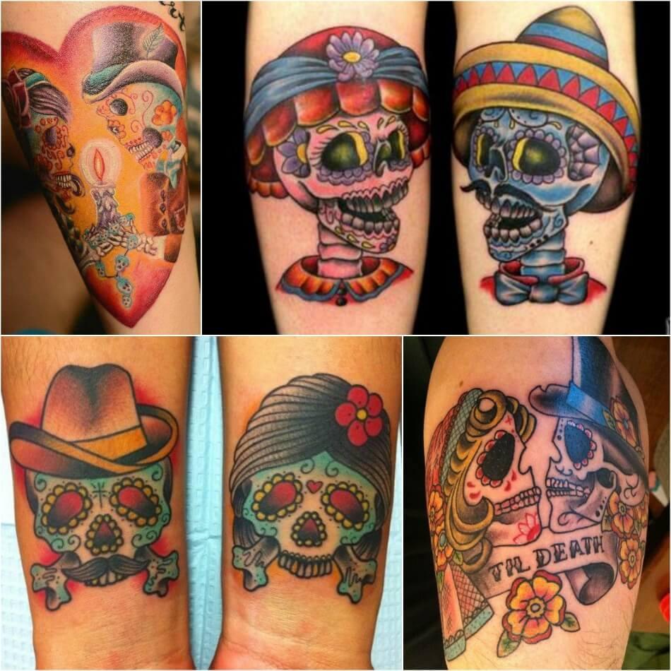 Тату Мексика Череп - Тату калавера - Тату катрина - Тату мексиканский череп для пары