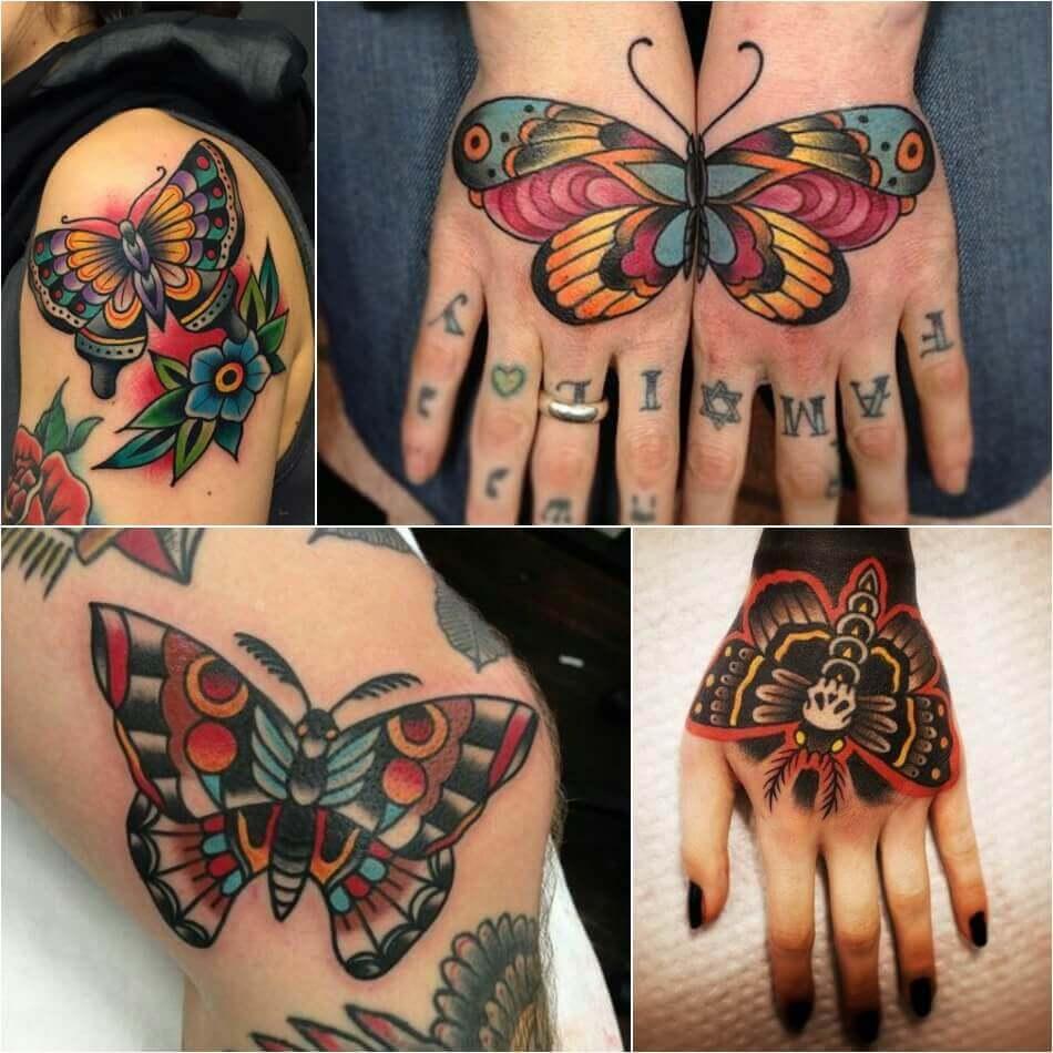 Тату олдскул - Татуировка олдскул - Тату стиль олдскул - Тату бабочка олдскул