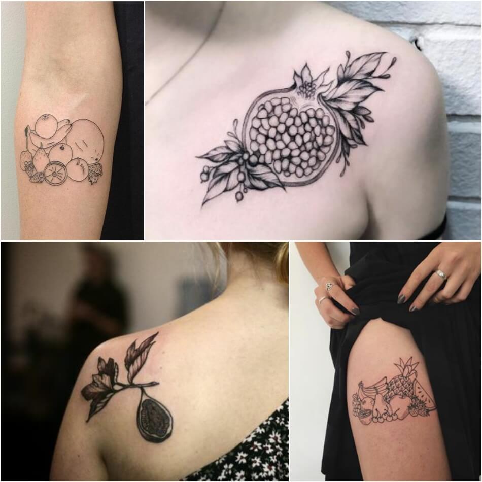 Тату фрукты - Татуировка фрукты - Тату фрукты значение - Черно-белые тату фрукты