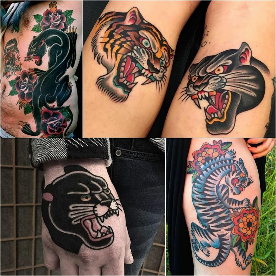 Тату олдскул - Татуировка олдскул - Тату стиль олдскул - Тату тигр олдскул