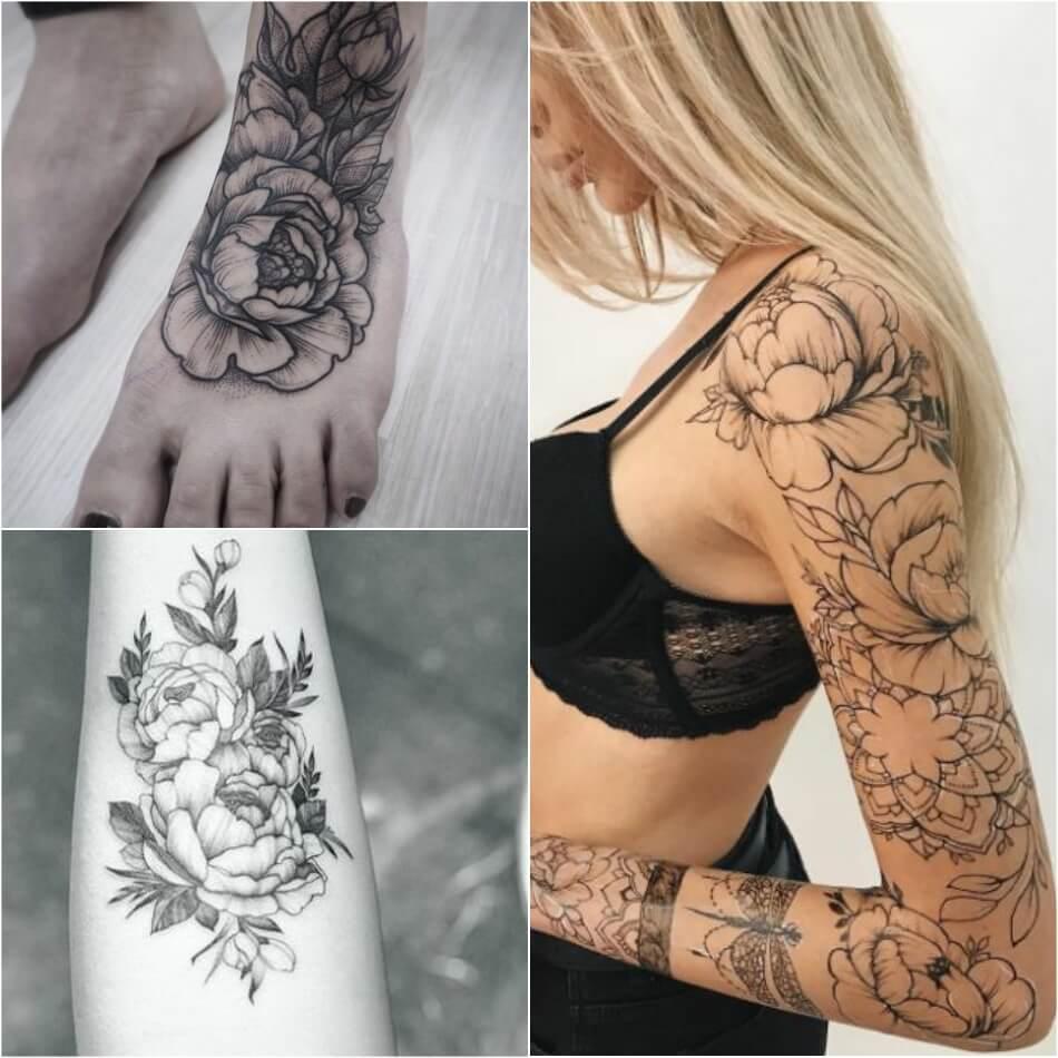 Тату пион - Татуировка пион - Тату пион для девушек - Тату пион черно-белые