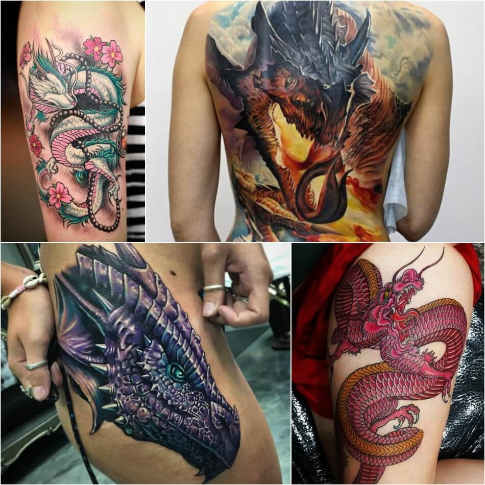 Тату дракон - Татуировка дракон - Тату дракон женские - Тату дракон для девушек