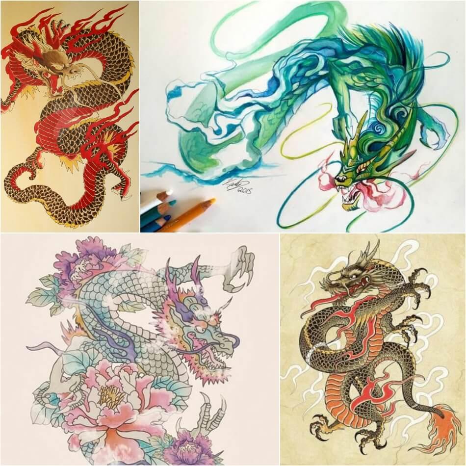 Тату дракон - Татуировка дракон - Тату дракон эскизы - Идеи тату дракон