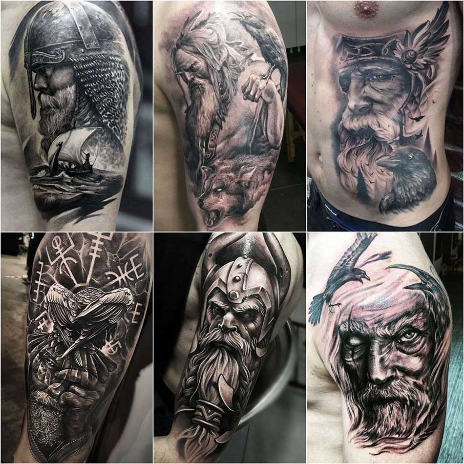 Скандинавские тату - Тату Один - Тату викингов - Бог Один тату