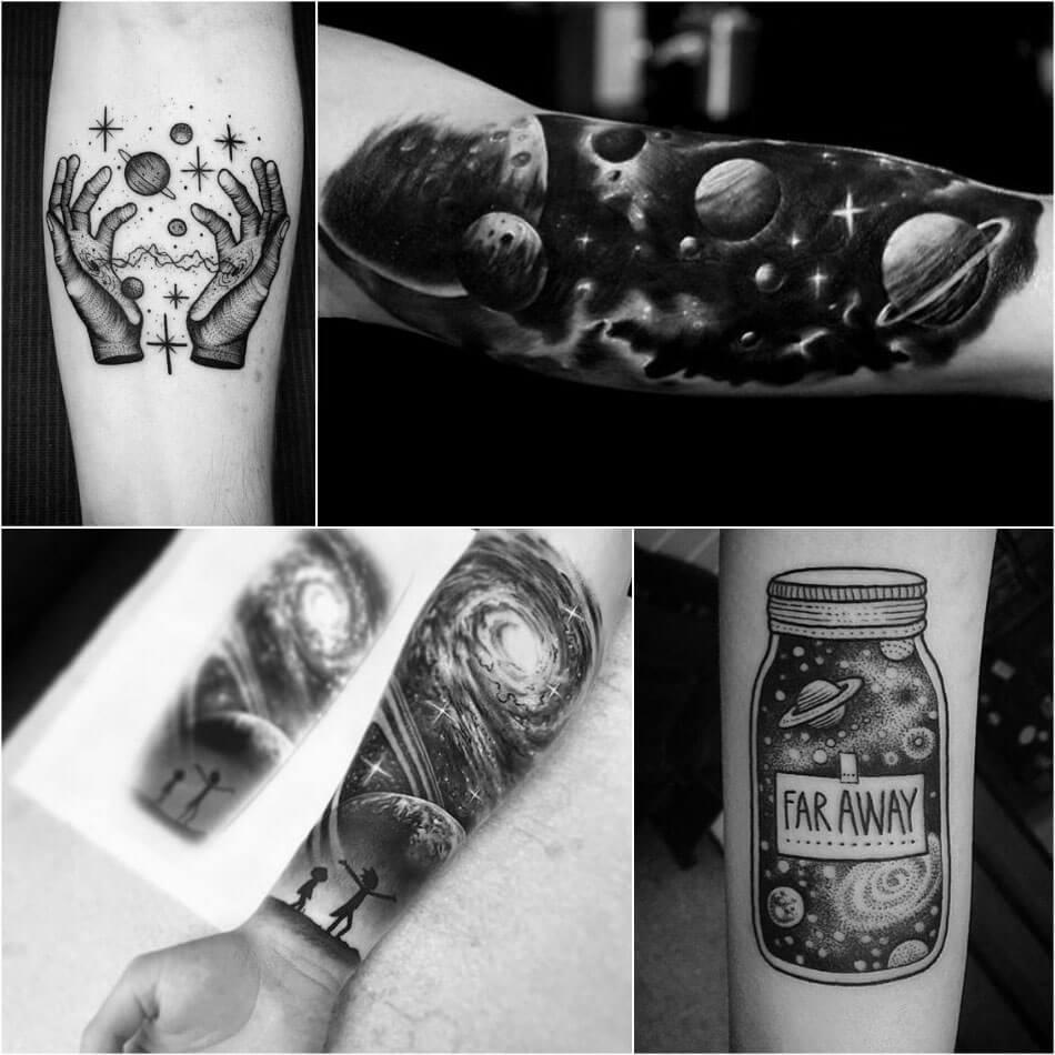 Тату Космос - Черно-белые тату космос - Татуировки космос чб