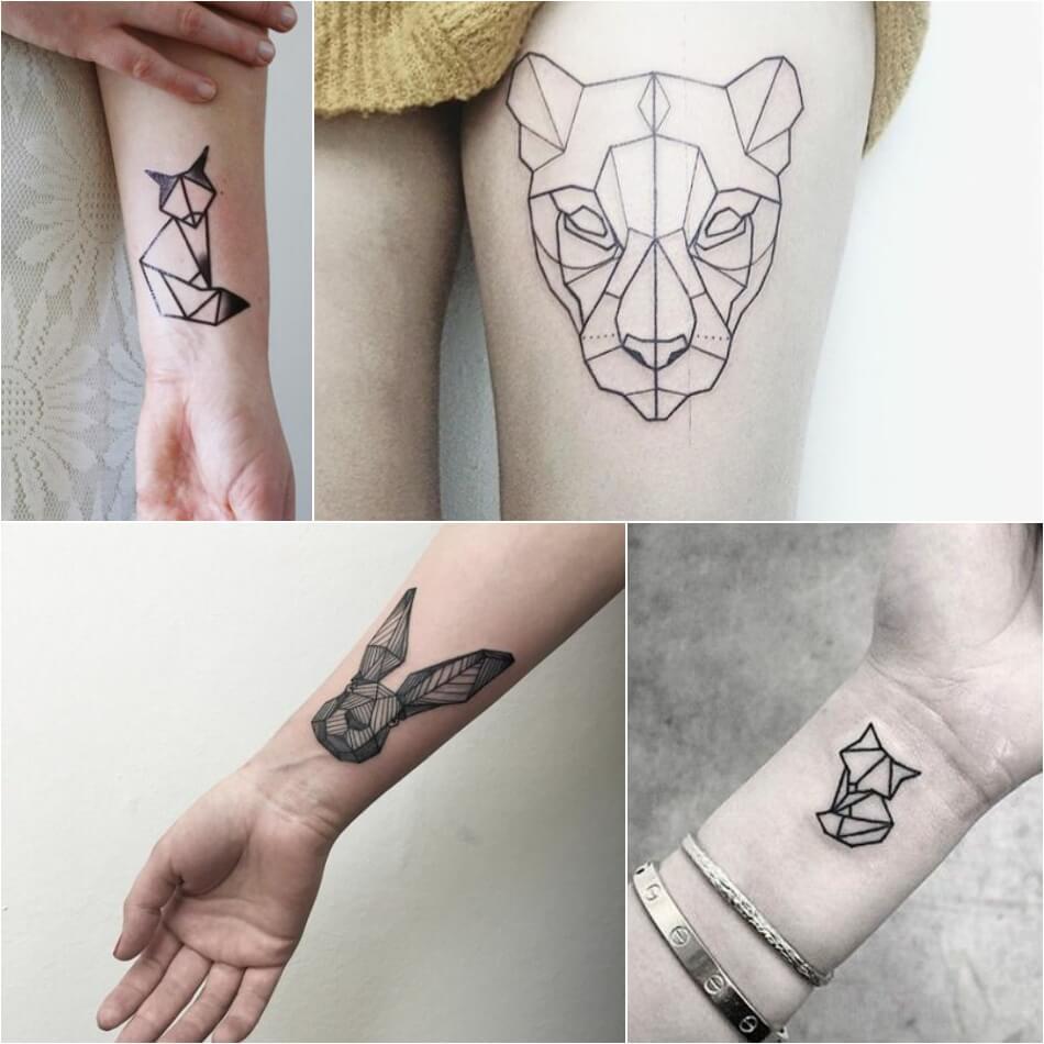 Тату геометрия - Геометрические тату - Татуировка геометрия - Тату оригами