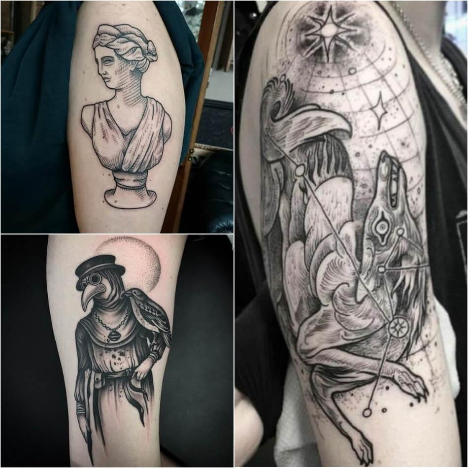 Тату Гравюра - Татуировка Гравюра - Стиль Гравюра тату - Тату гравюра женские