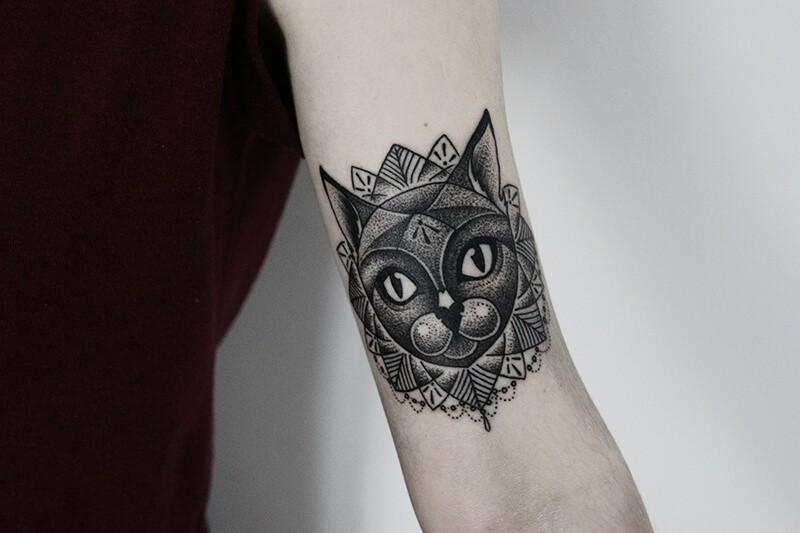 Тату кот - Тату кот дотворк - Тату кот - Татуировка кот