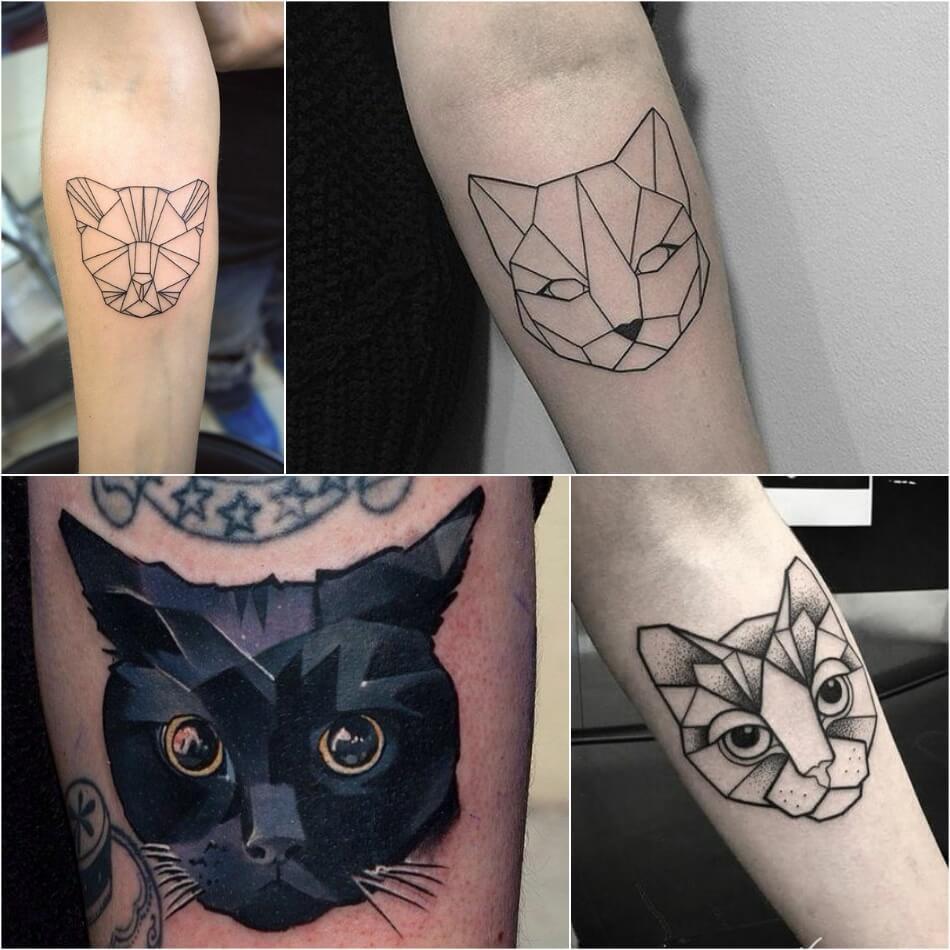 Тату кот - Тату кот геометрия - Татуировка кошка геометрия