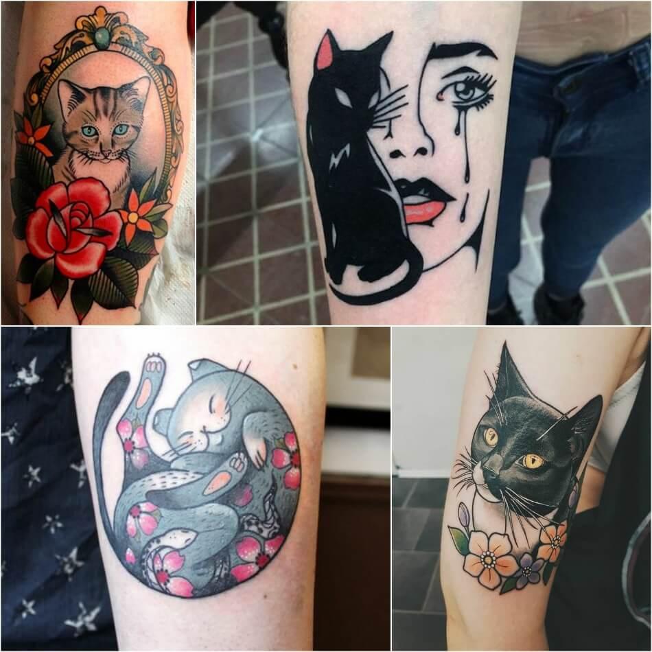 Тату кот - Тату кот женские - Тату кот для девушек - Тату кошка