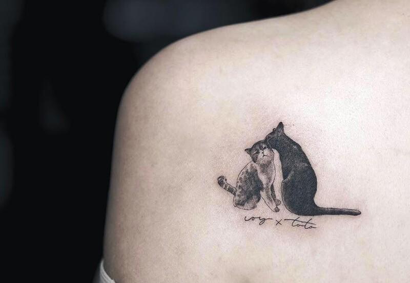 Тату кот - Татуировка кот - Портрет кота