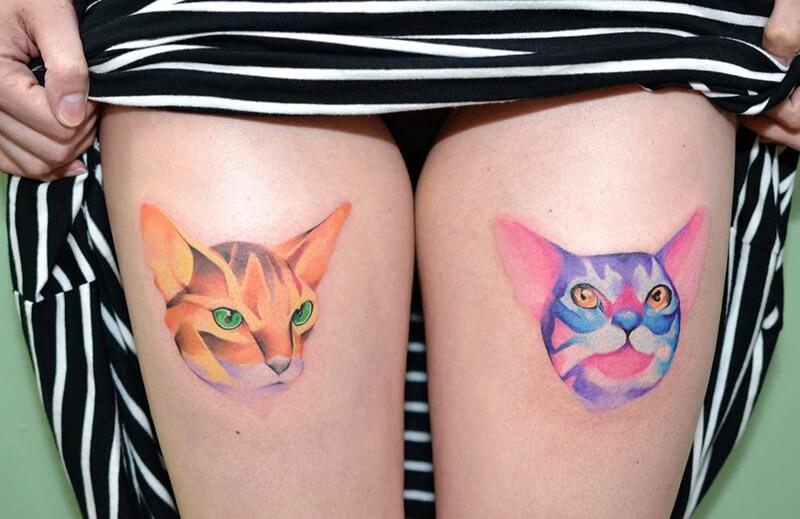 Тату кот акварель - Татуировка кот акварель - Тату кот - Тату рыжий кот