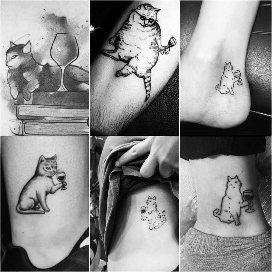 Тату кот - Тату кот и вино - Татуировка кот с бокалом