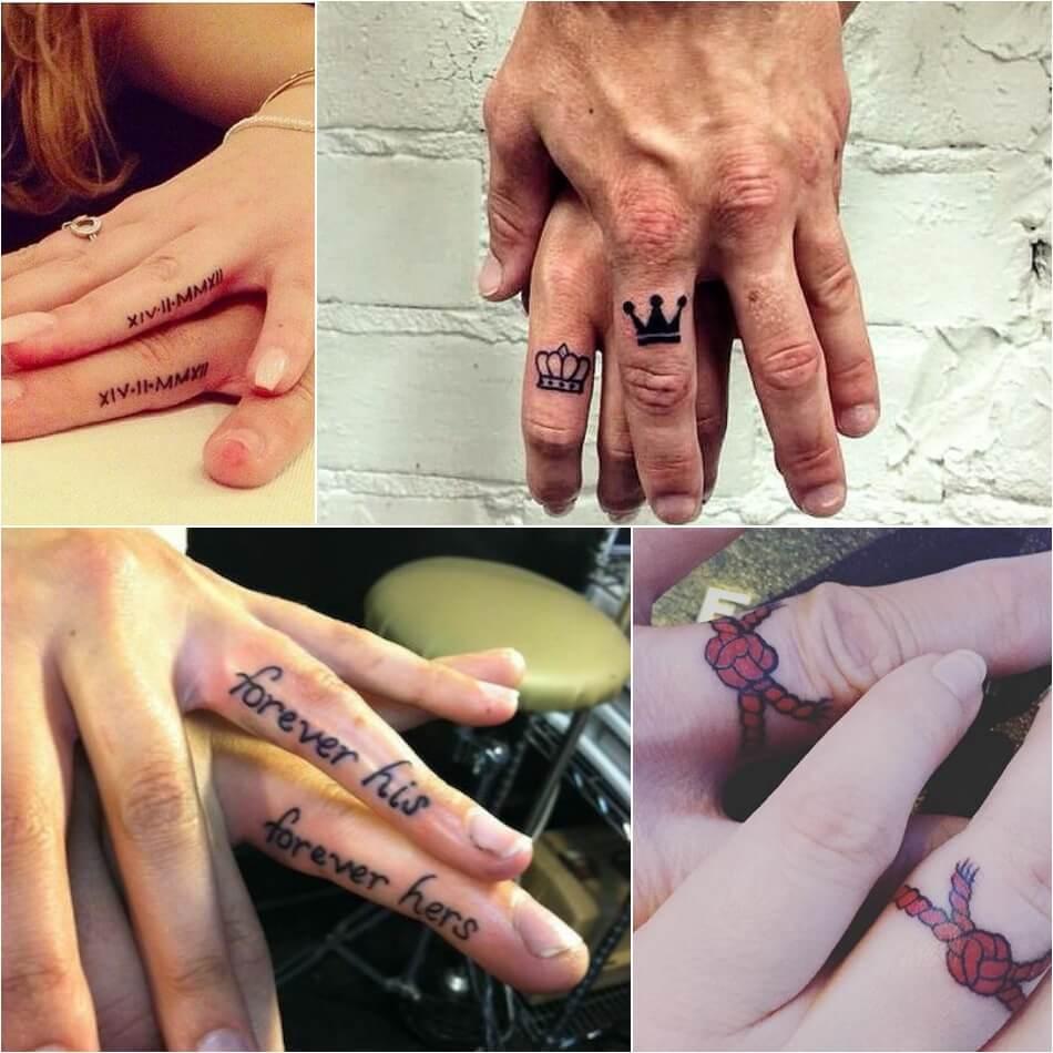 Тату на пальце - Тату для двоих на пальце - Обручальные тату