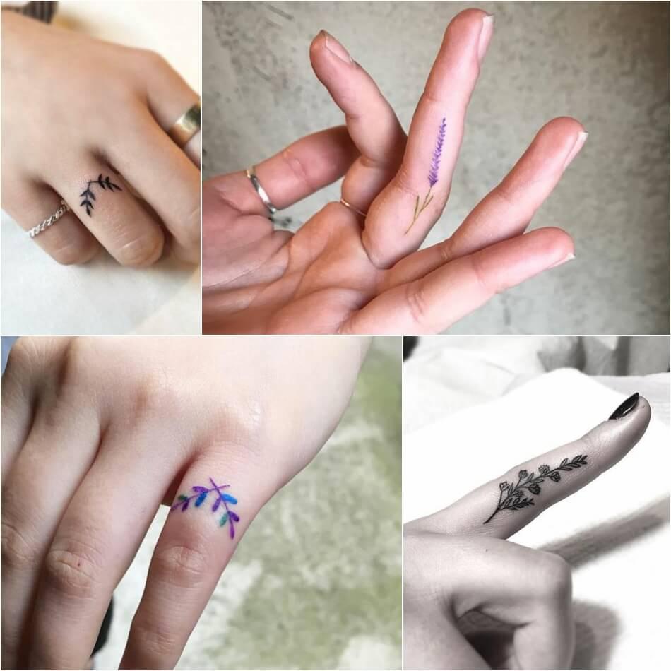 Тату на пальце - Татуировка ветка на пальце - Татуировка на пальце ветка
