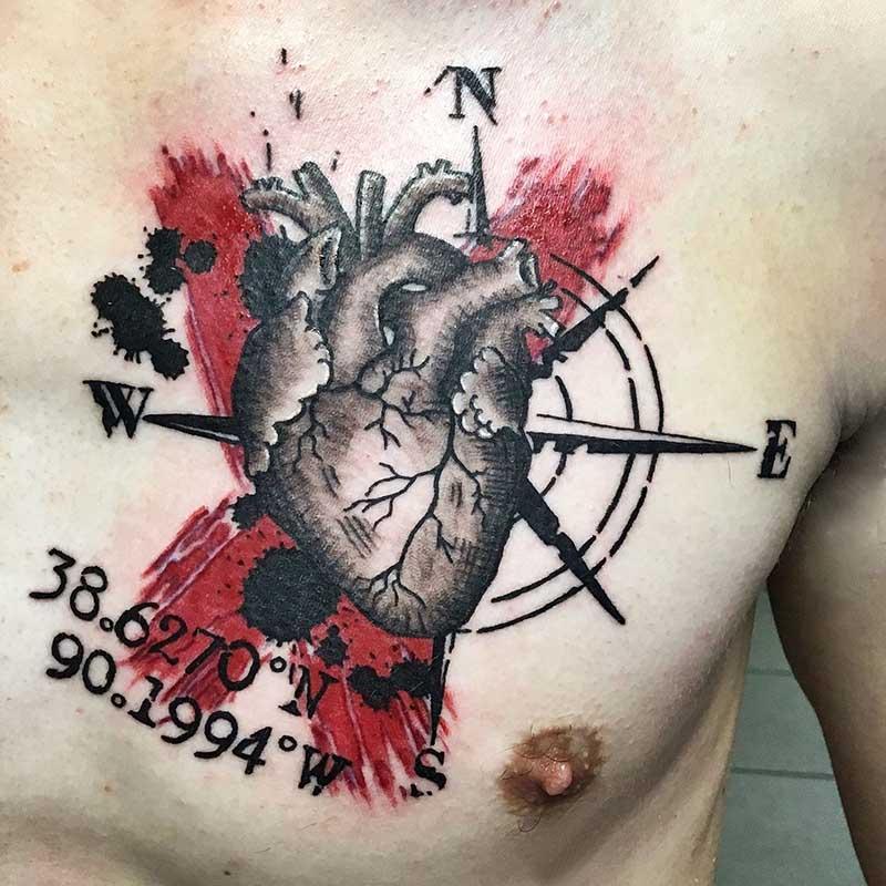 Тату треш полька - Тату на груди треш полька - Татуировка треш полька на груди