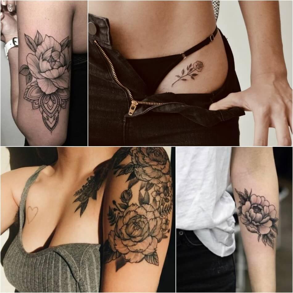 Тату цветы значение - Тату цветы - Татуировка черно-белые цветы