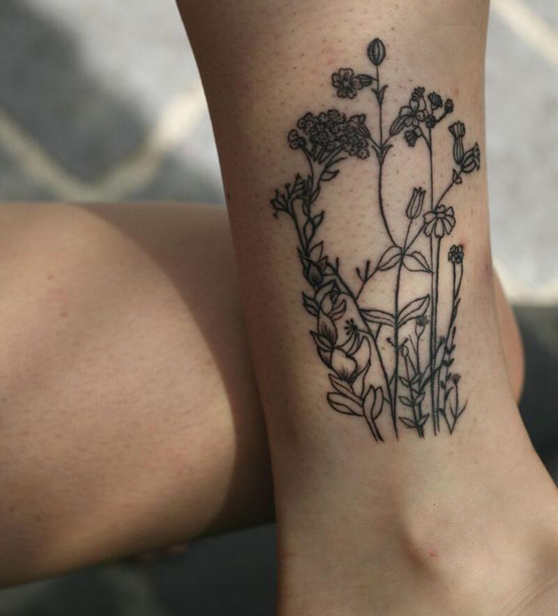 Тату цветы значение - Тату цветы - Татуировка цветы на ноге