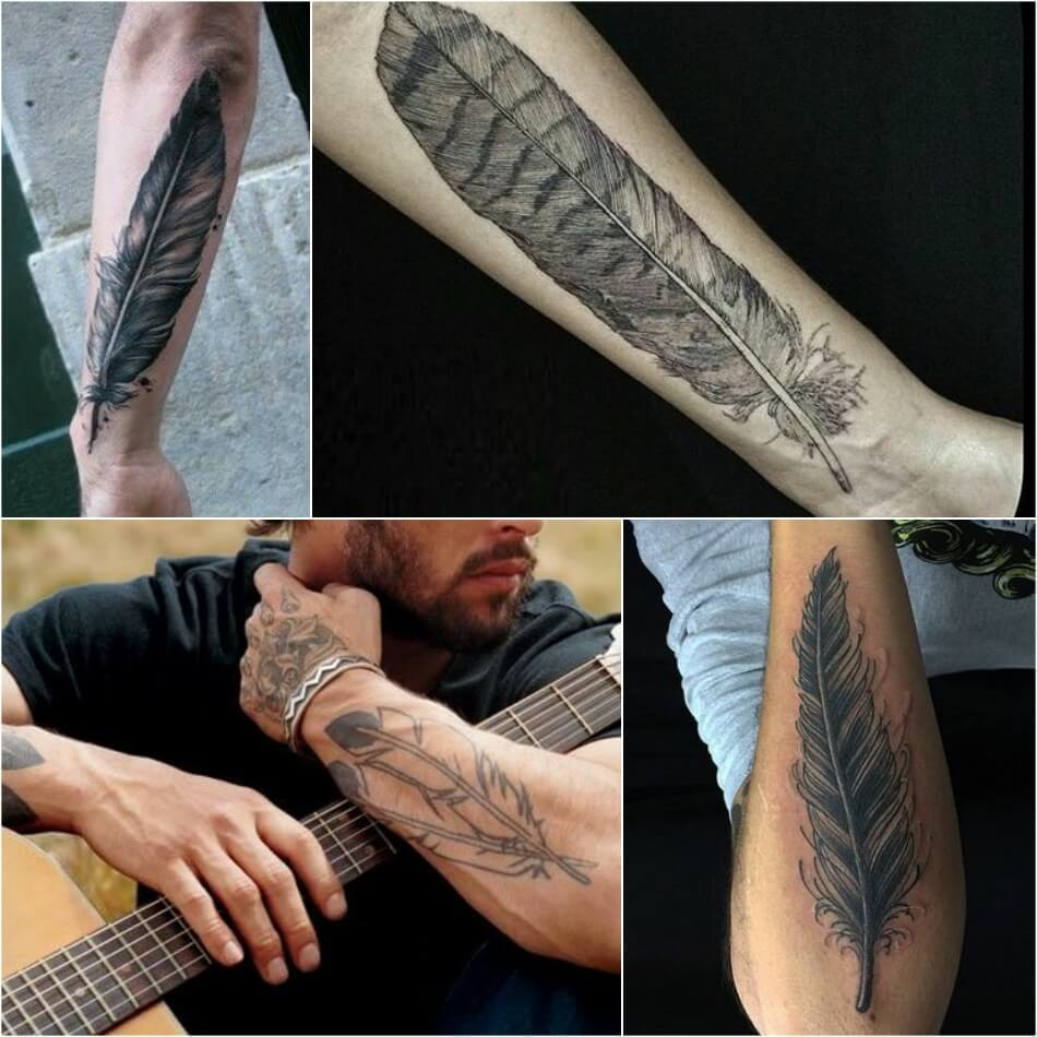 Тату перо: фото, примеры готовых рисунков татуировки - m 89