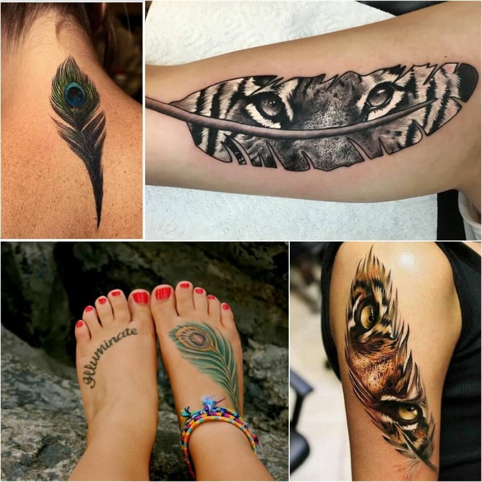 Тату перо - Татуировка Перо - Тату с пером - Тату перо женские