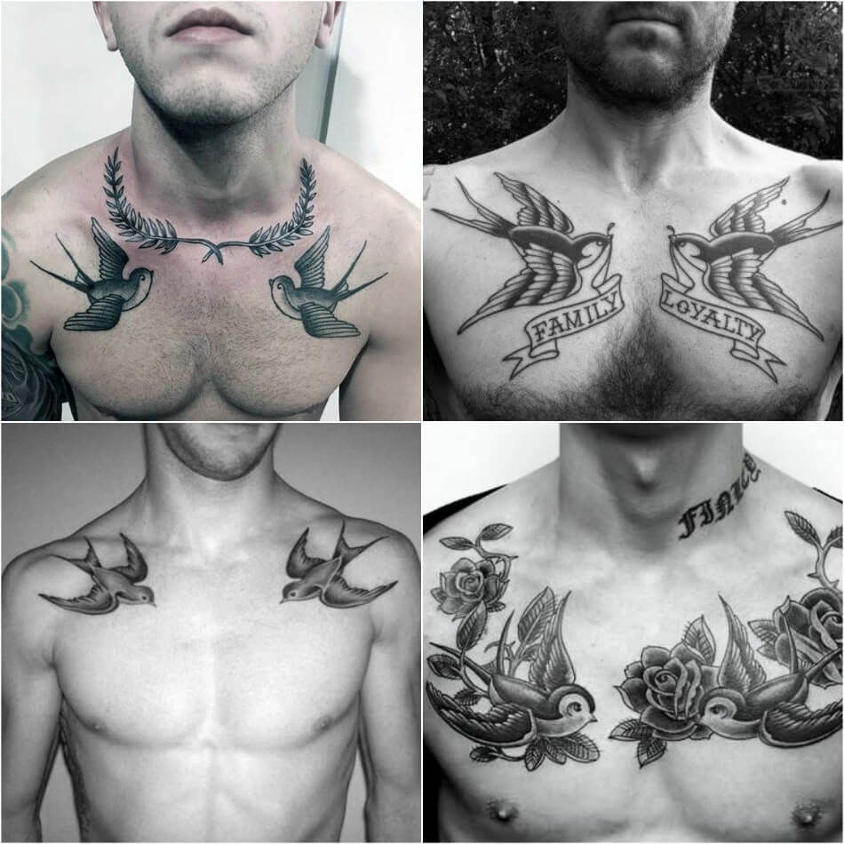 Мужские тату ласточка - Тату ласточка для мужчин - Тату ласточка на груди