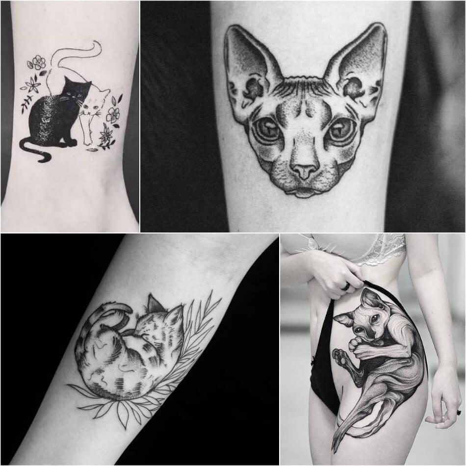 Тату для девушек - Тату кот для девушек - Женские тату кот