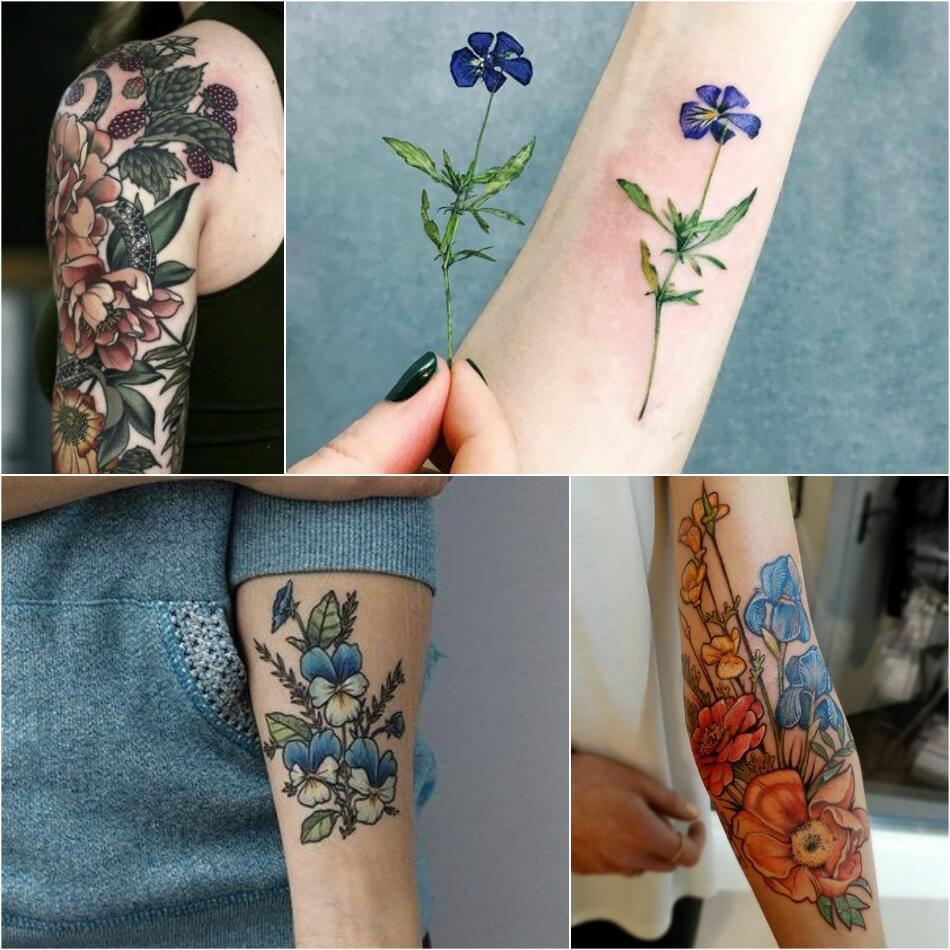 Тату для девушек - тату цветы женские - Тату цветы для девушек