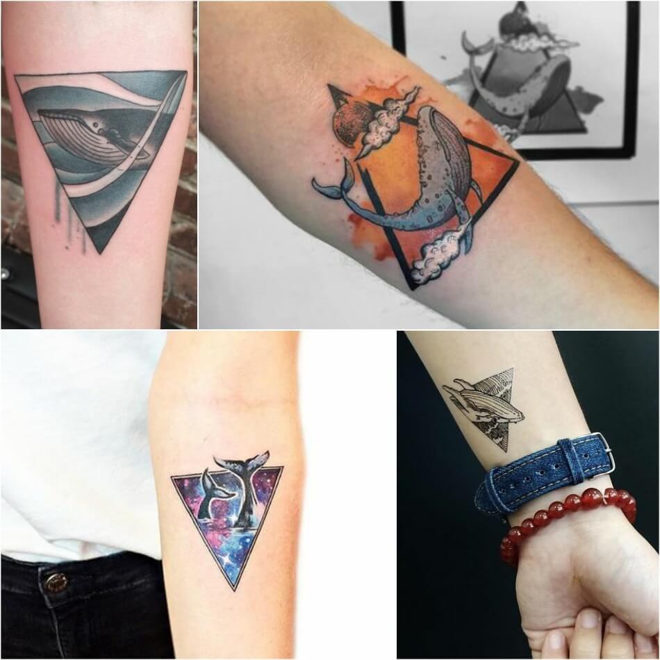 Тату кит - Тату кит в треугольнике - Татуировка кит