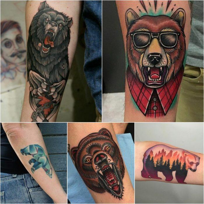 Тату медведь - Татуировка медведь на предплечье - Тату медведь на предплечье