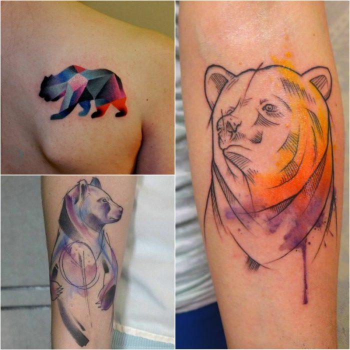Тату медведь - Женские тату медведь - тату для девушек медведь