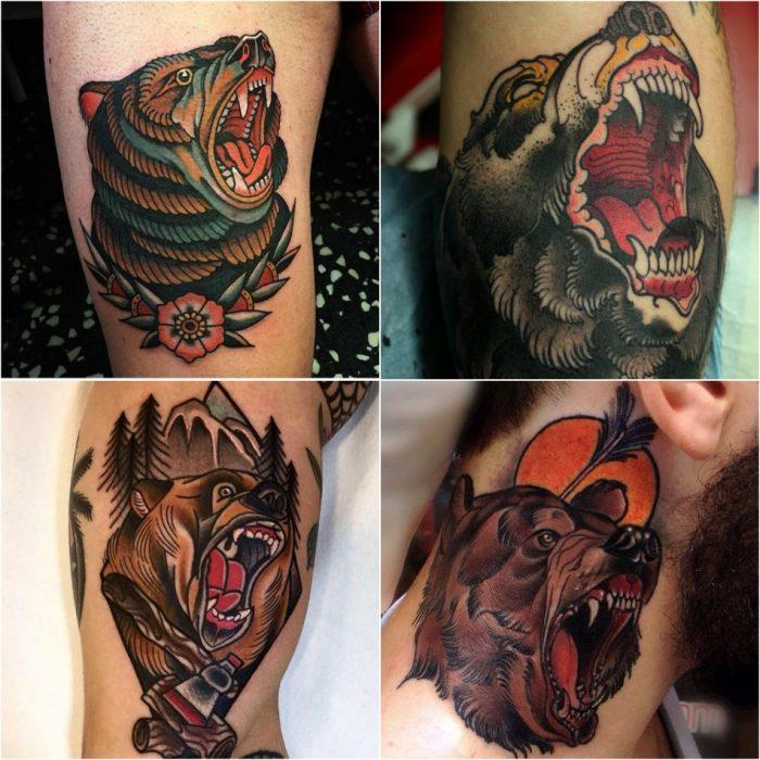 Тату медведь - тату ревущий медведь - Татуировка ревущий медведь