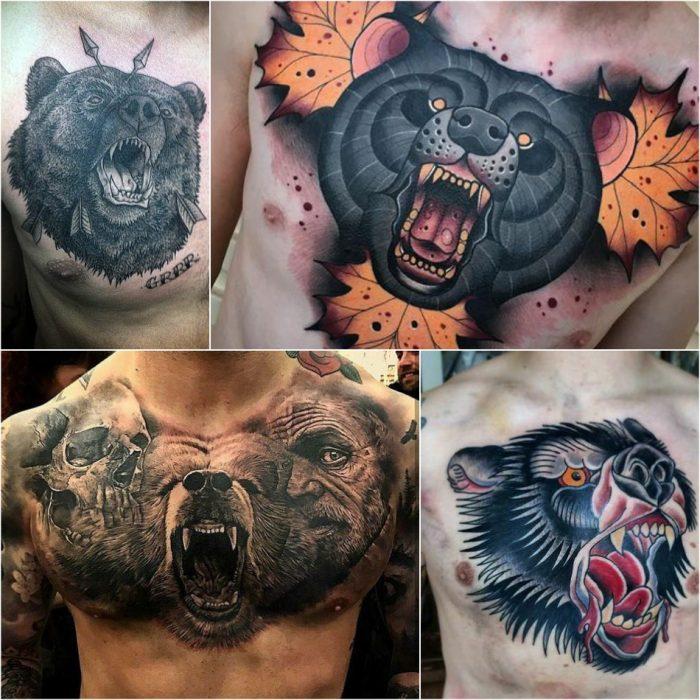 Тату медведь - татуировка медведь на груди - Тату медведь на груди