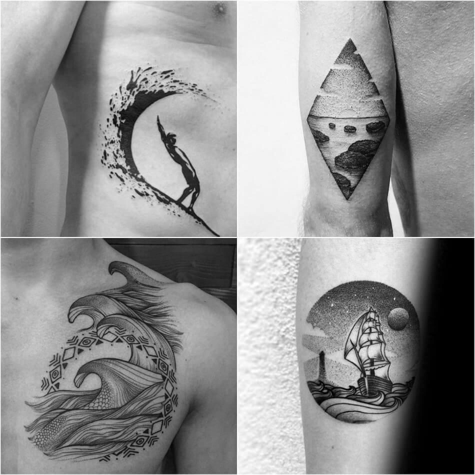 Тату море - Мужские тату море - Тату море для мужчин