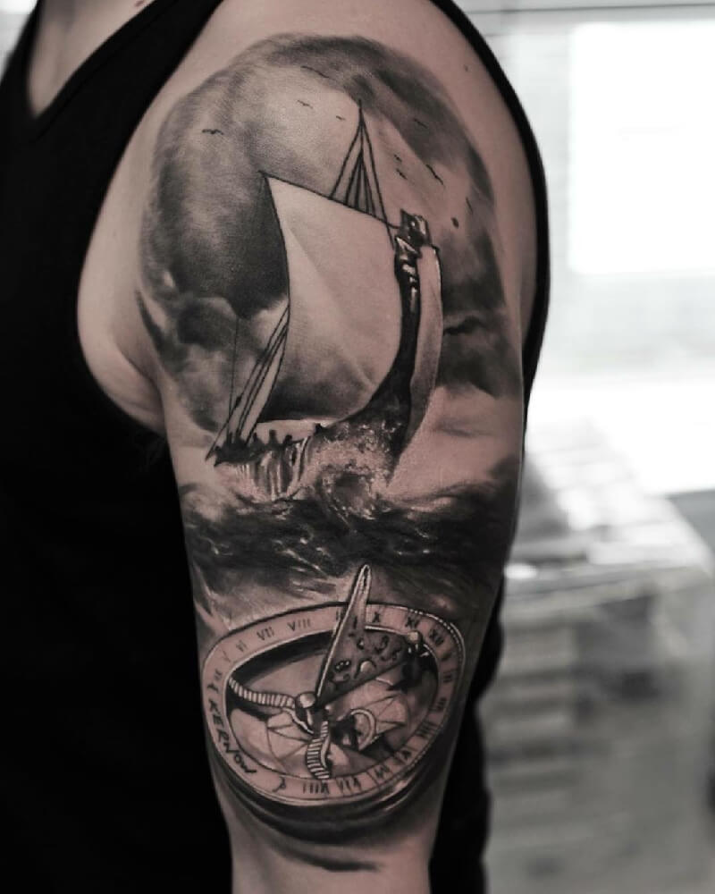 Тату море - Тату компас и море - Татуировка компас и море