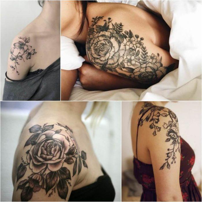 Тату на плече - Тату цветы на плече - Татуировка цветы на плече