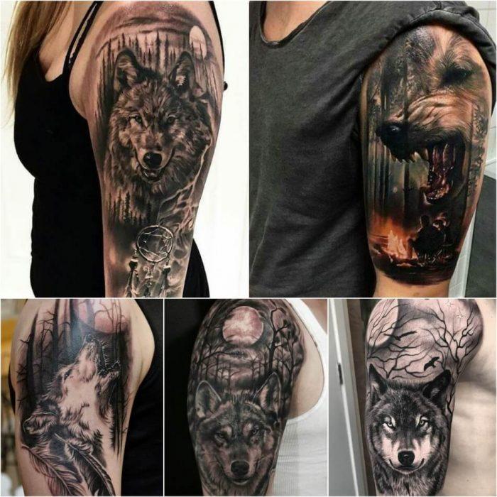 Тату на плече - Тату волк на плече - Татуировка волк на плече