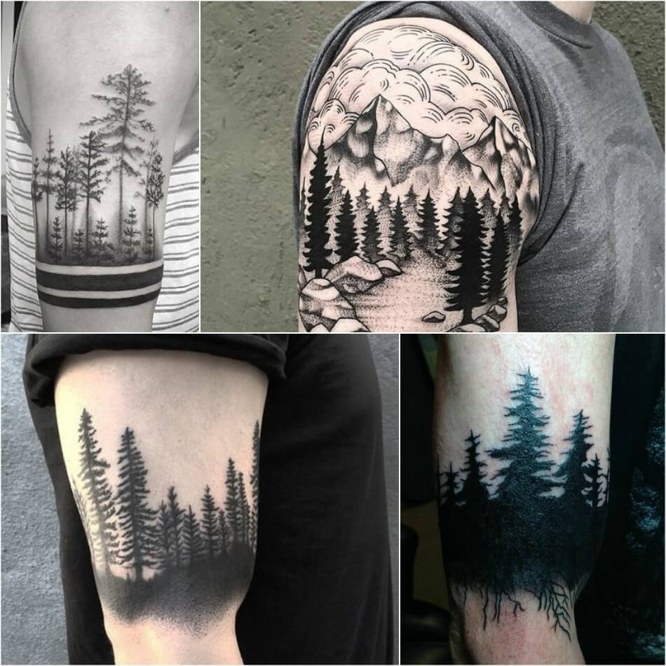 Тату на плече мужские - Тату лес на плече мужская - тату пейзаж на плече для мужчин