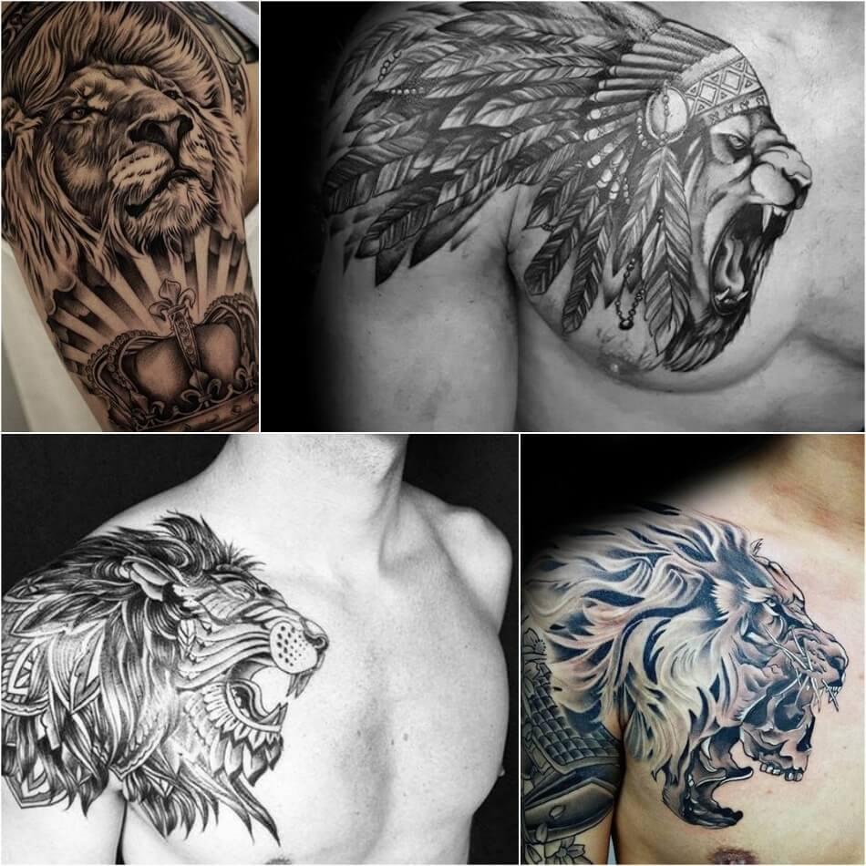 Тату на плече мужские - Тату лев на плече для мужчин
