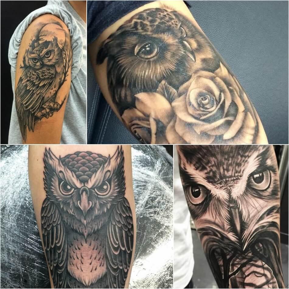 Тату на плече мужские - Тату сова на плече мужская - Тату на плече сова для мужчин