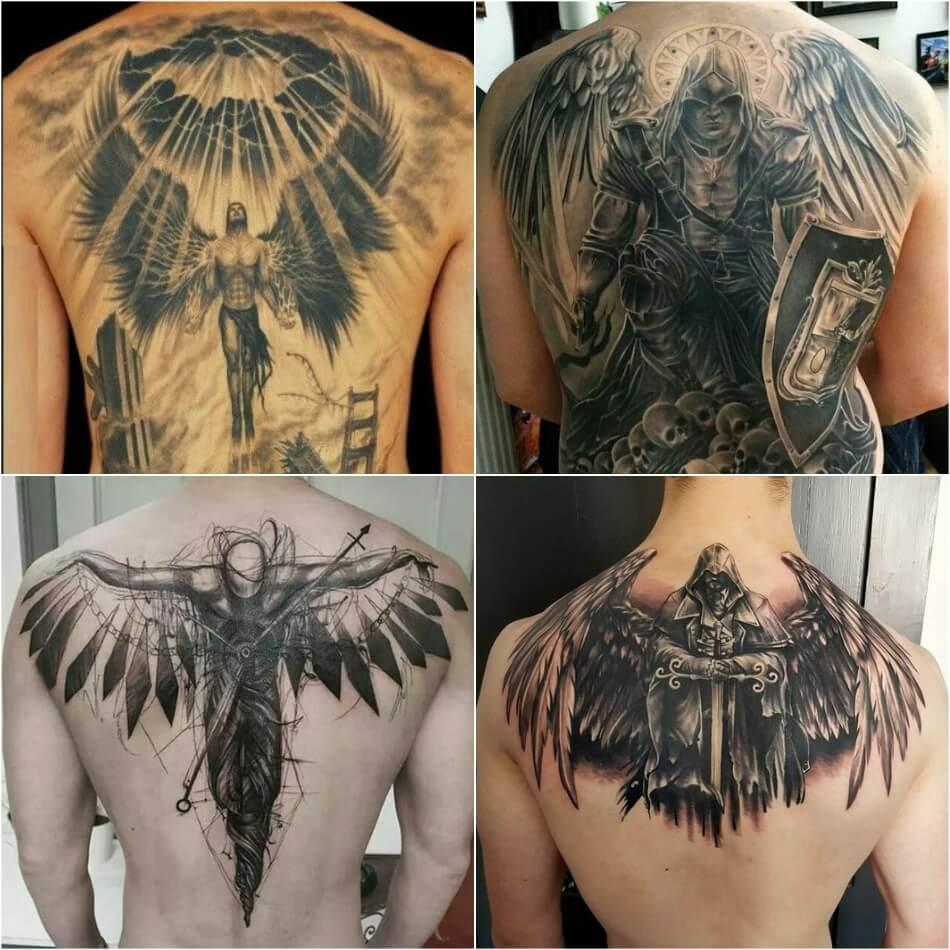 Тату на спине - Тату ангел на спине - Татуировка на спине ангел