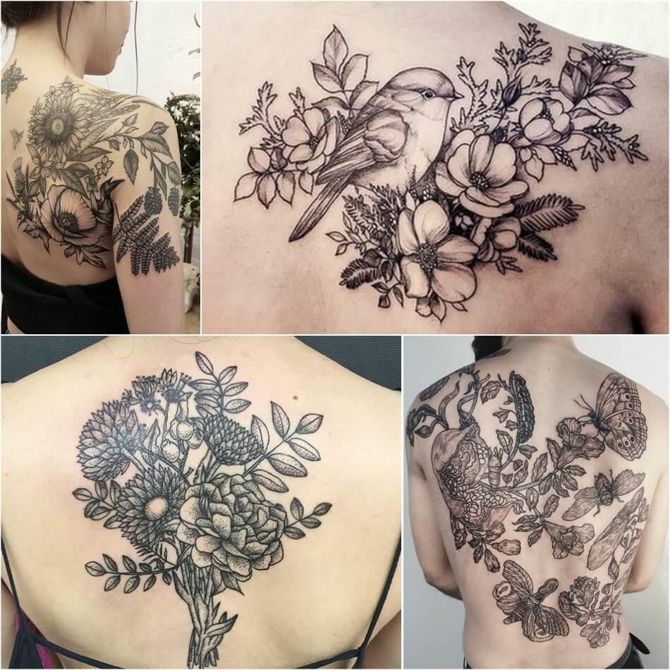 Тату на спине - Тату цветы на спине - Татуировка цветы на спине